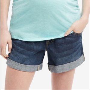 Dark wash cuffed maternity shorts